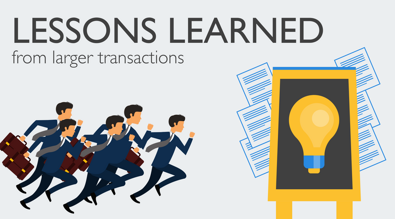 Businessmen running towards a light bulb and text lesson learned from larger transactions